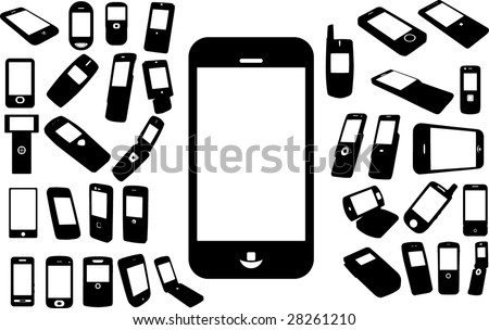 Set of cell phones - stock vector