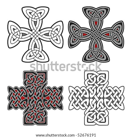 Set of celtic design elements crosses - stock vector