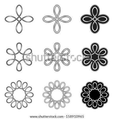 Set of Celtic Knot Patterns, Models and Templates - stock vector