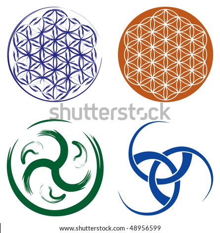 Set of Celtic Symbols - Celtic Knot and Flower of Life. - stock vector