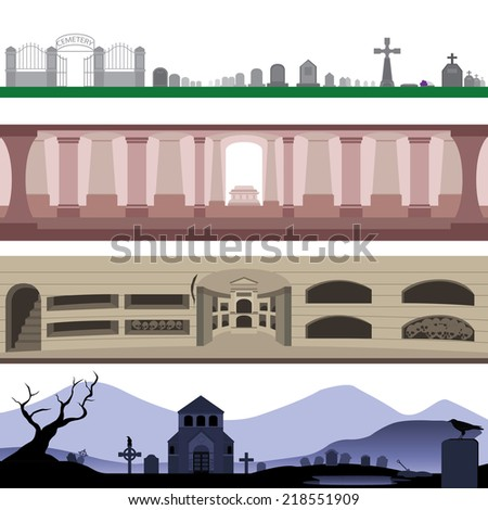 Set of Cemetery Tomb Catacomb and Graveyard Landscape  - stock vector