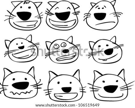 set of certoon cats heads - stock vector