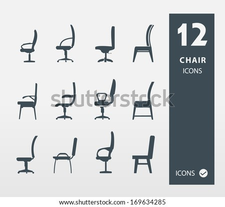 Set of chair Offife & Home  ( set of 12 Quality icon ) - stock vector