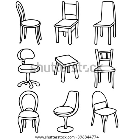 Set Chairs Set Simple Line Drawings Stock Vector HD Royalty Free