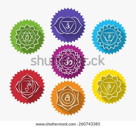 Set of chakras. Symbol meditation and spiritual, yoga buddhism and energy. Vector illustration - stock vector