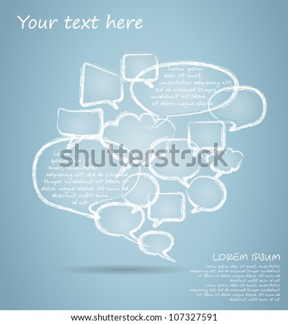 Set of chalk drawing bubble speech - stock vector