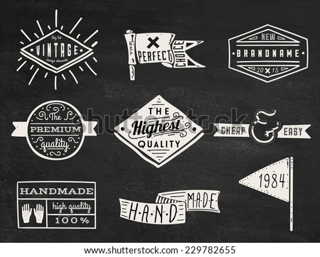 Set of chalk hipster vintage retro labels and logo on chalkboard background - stock vector