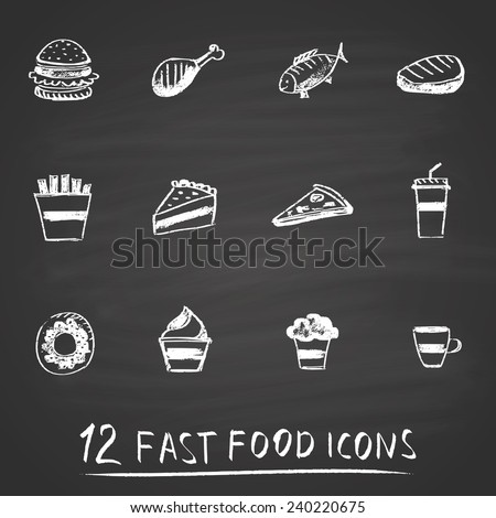 Set of chalk painted 12 different fast food icons on black chalkboard. Menu theme.