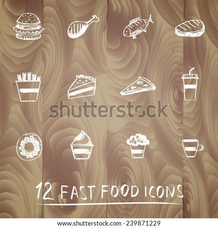 Set of chalk painted 12 different fast food icons on wooden texture. Menu theme.