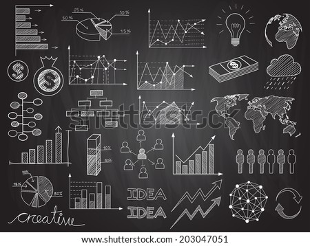 Set of chalkboard info graphics and business doodles. - stock vector
