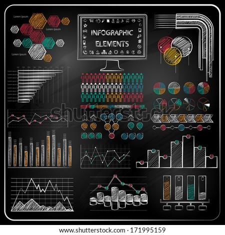 Set of chalkboard info-graphics and business icons - stock vector