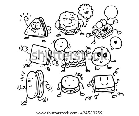 set of character biscuit  - stock vector