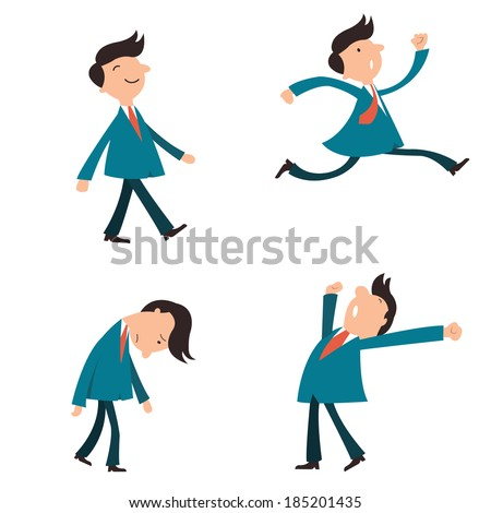 Set of character businessman, suit man, or office workers pose in various emotion, yawning, happy, walking, running in a hurry, and in sad feeling.   - stock vector