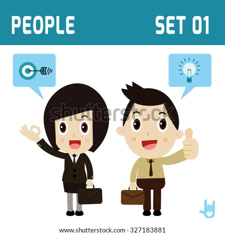 set of character full body business people.diverse of costume and action poses.company concept.flat icons design.isolated on white and blue background. - stock vector