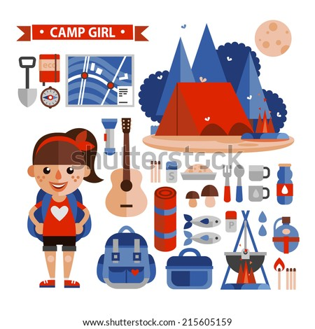 Set of characters and elements hike and camp. Flat design. - stock vector
