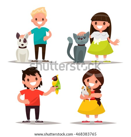 Set of characters. Children with pets. Vector illustration of a flat design
