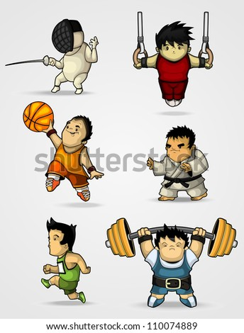 Set of characters engaged in various sports - stock vector