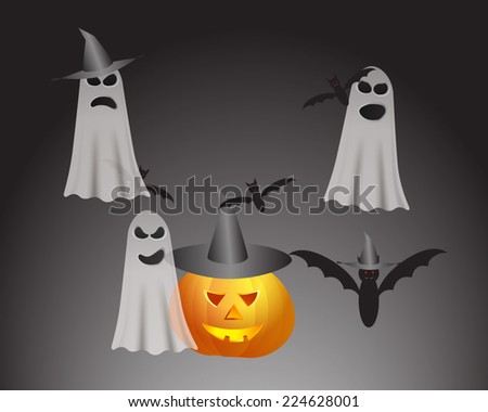 Set of characters for Halloween  - stock vector