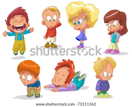 set of characters funny kids on a white background #2 - stock vector