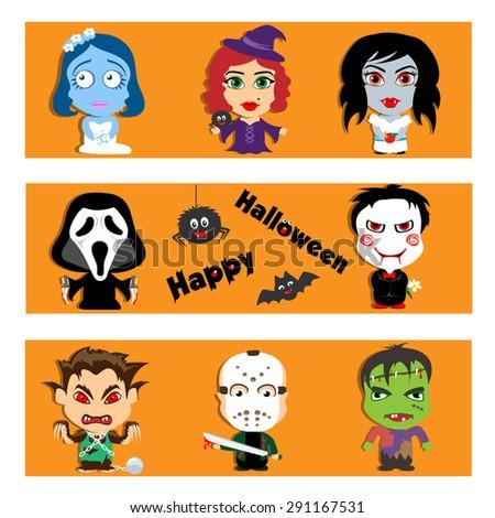 set of characters happy Halloween - stock vector