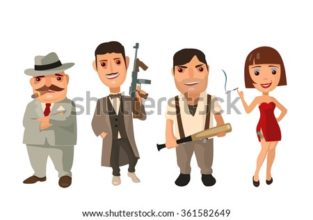 Set of characters Mafia. Don, capo, soldier, prostitute. Vector flat illustration isolated on white background. - stock vector