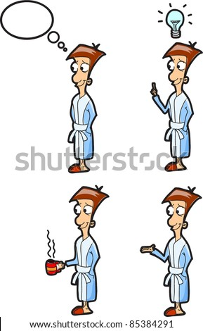 set of characters of men in a white coatset of characters of men in a bathrobe - stock vector
