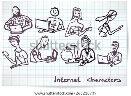 Set of characters on the theme of Internet technology and devices in the style b/w sketch - stock vector