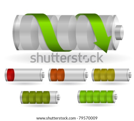 Set of charging batteries - stock vector