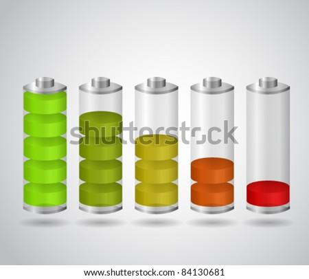 Set of charging batteries - stock vector