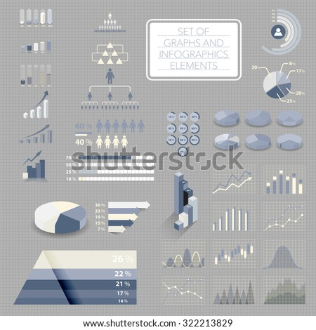 Set of charts, graphs and infographics elements. Useful for business presentation or website, vector. - stock vector