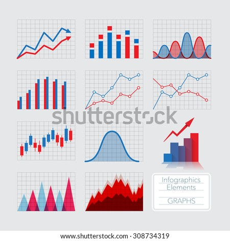 Set of charts, infographics elements. - stock vector