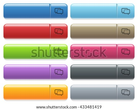 Set of Chat bubbles glossy color menu buttons with engraved icons - stock vector