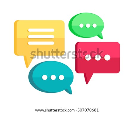 Set of chat web bubbles isolated on white. Interface dialog, talk button, application speech balloon. App icon flat style design. Message, communication letter, sms and email sign. Vector illustration