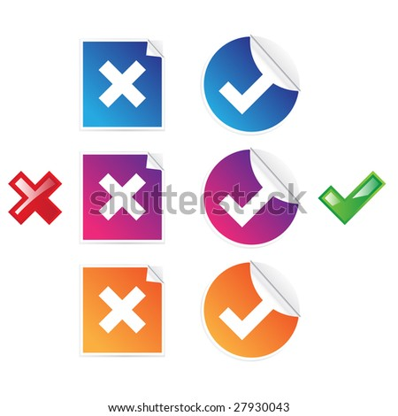 Set of check and cross stickers - stock vector