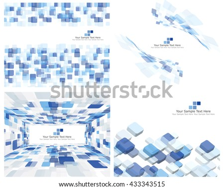 Set of 4 Checkered Abstract Backgrounds. Blue color. - stock vector