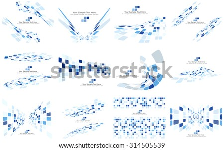 Set of Checkered Backgrounds With Text Space. Ideal Balanced Colors in Blue Tone and Different Shapes. Suitable For Creating Business, Technological and Other Designs. Vector Illustration.  - stock vector