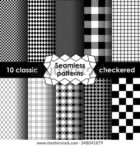 Set of checkered simple fabric seamless pattern in black and white. 10 classic ornaments - stock vector