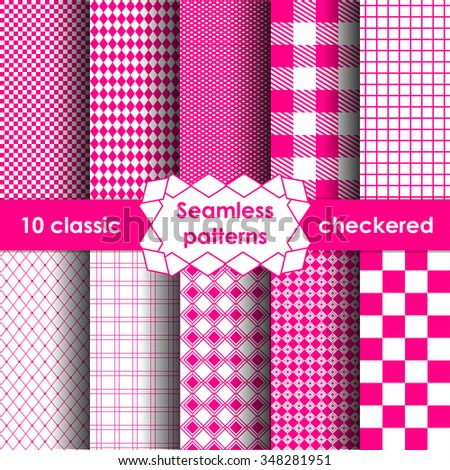 Set of checkered simple pink fabric seamless pattern. 10 classic ornaments - stock vector