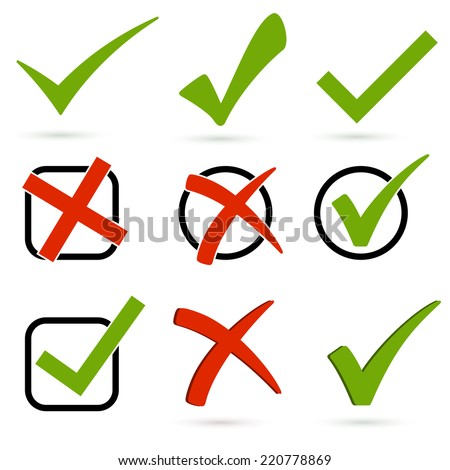 Set of checks and crosses - stock vector