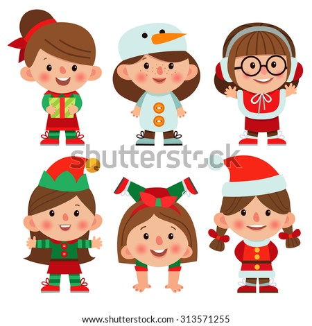 Set of cheerful characters in Christmas style. Girls in Christmas costumes in a cartoon style. Snowman, Santa's elves, a girl from the Christmas choir. - stock vector