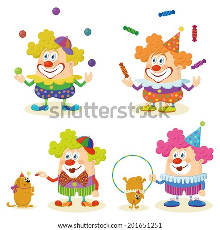 Set of cheerful kind circus clowns in colorful clothes juggling balls and candies and training dogs, holiday illustration, funny cartoon characters, isolated on white background. Vector - stock vector