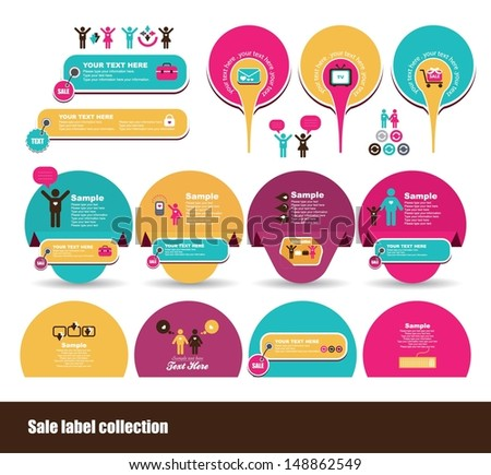set of cheerful label design - stock vector