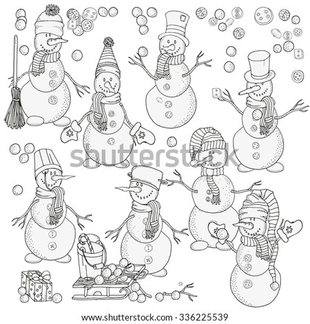 Set of cheerful snowmen. Winter, snow, sled, snow, trees, hats, threads. Merry Christmas, Happy New Year. Pattern for coloring book. Black and white.  Made by trace from sketch.  - stock vector