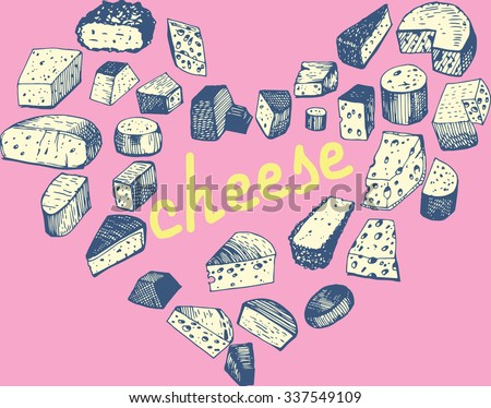 Set of Cheese in form Heart. - stock vector