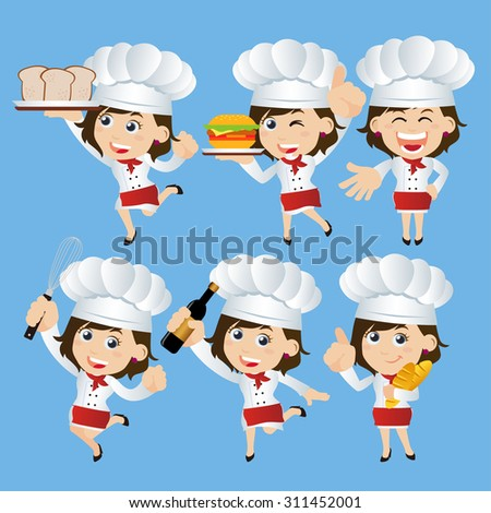 Set of  Chef characters in different poses - stock vector