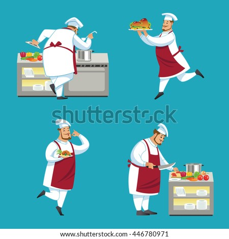 Set of chef characters. Vector illustration.  - stock vector