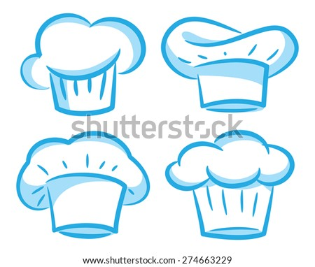 set of chef hat - stock vector