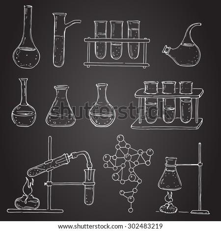 Set Laboratory Equipment Doodle On Chalk Stock Vector
