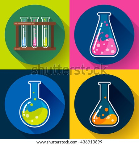 Set of Chemical lab flasks icons - test tubes, round bulb and triangular. With colored liquid. Flat design style