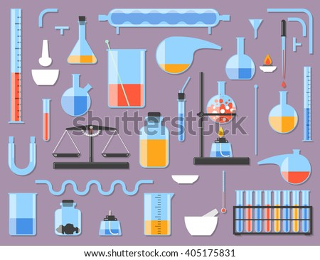 Set of chemical laboratory equipment. Chemical glass. Constructor parts. Vector illustration - stock vector